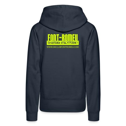 font romeu logo seul vecto blanc copie - Sweat-shirt à capuche Premium pour femmes