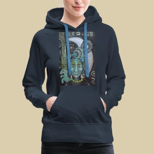 ixchel azul - Sudadera con capucha premium para mujer