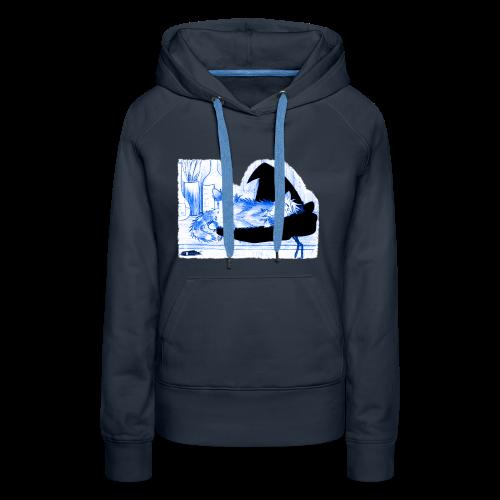 Tyrrin Hexenkater auf Hut (blau) - Frauen Premium Hoodie