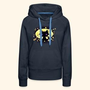 The Kitten and the Moon (black) - Frauen Premium Hoodie