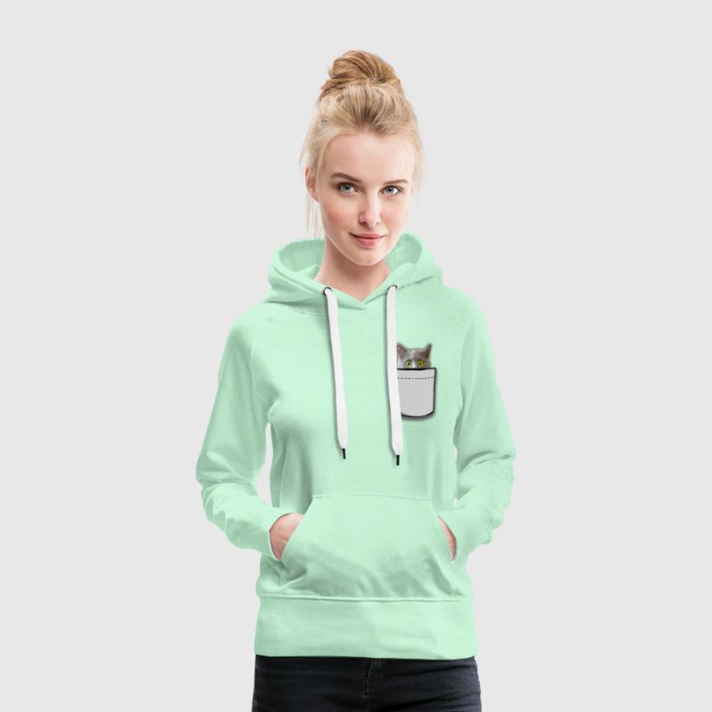 Bolsa de gato - Sudadera con capucha premium para mujer