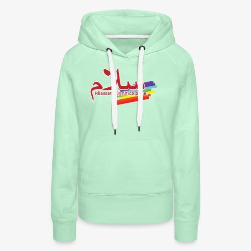 rilassati significa pace colori arcobaleno - Felpa con cappuccio premium da donna