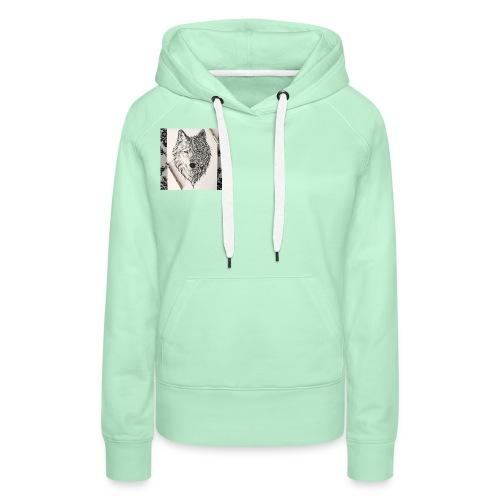 loup - Sweat-shirt à capuche Premium pour femmes