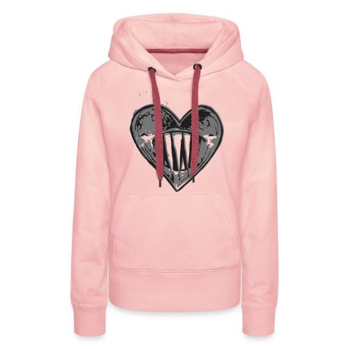 Corazón Negro - Sudadera con capucha premium para mujer