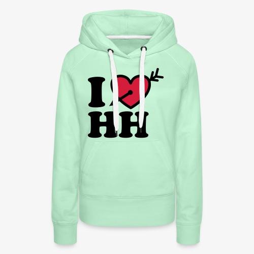 I LOVE (Herz) HH Hamburg Pfeil im Herzen b 2c - Frauen Premium Hoodie