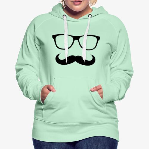 gafas y bigote - Sudadera con capucha premium para mujer