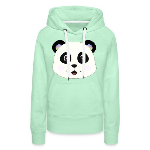 panda rainbow - Sudadera con capucha premium para mujer
