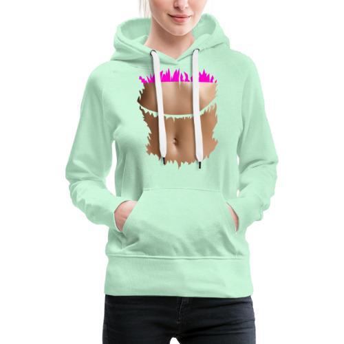 t shirt ventre plat brassiere rose - Sweat-shirt à capuche Premium pour femmes