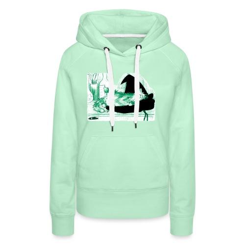 Tyrrin Hexenkater auf Hut (grün) - Frauen Premium Hoodie