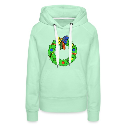 Christmas Wreath in House Colours - Women's Premium Hoodie