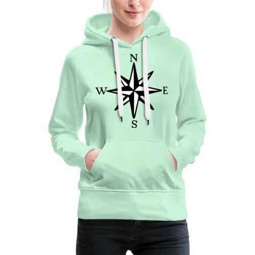 Windrose mit Himmelsrichtungen Segeln Segler - Frauen Premium Hoodie