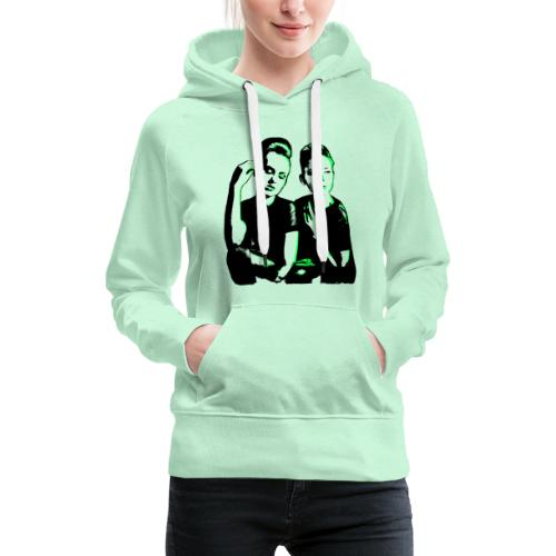 ATTITUDE<>WOKE (neon green) - Dame Premium hættetrøje