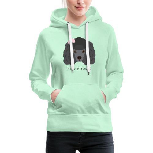Poodle Black - Felpa con cappuccio premium da donna