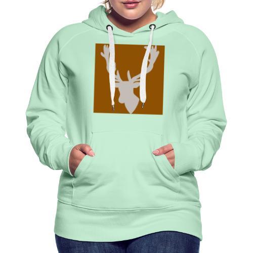 Hirch B BROWN WHITE - Frauen Premium Hoodie