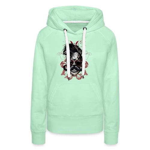 tete de mort hipster fioriture crane skull moustac - Sweat-shirt à capuche Premium pour femmes