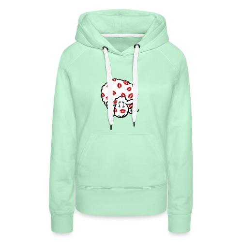 Beso oveja - Sudadera con capucha premium para mujer