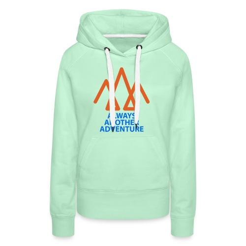Orange logo, blue text - Women's Premium Hoodie
