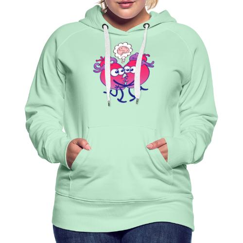 Hearts in love thinking too much when kissing - Women's Premium Hoodie