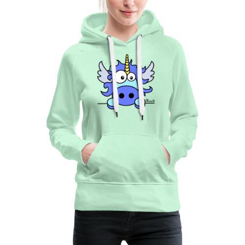 Licorne Bleu, Poney - Sweat-shirt à capuche Premium pour femmes