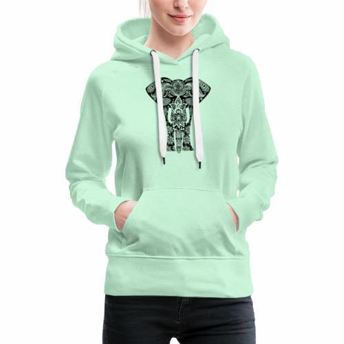 Ażurowy słoń - Bluza damska Premium z kapturem
