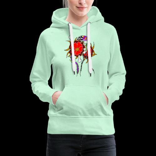 Le skull et les fleurs rouges - Sweat-shirt à capuche Premium pour femmes