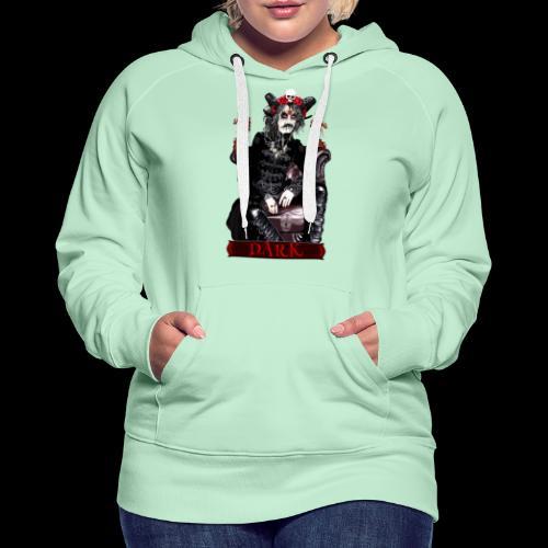 Créature gothique assise avec crânes et dragons - Sweat-shirt à capuche Premium pour femmes