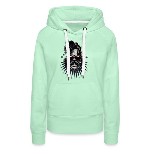 tete de mort hipster crane moustache skull logo lu - Sweat-shirt à capuche Premium pour femmes