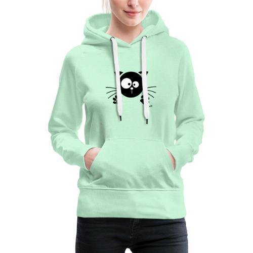 Chat noir Rigolo Drôle Humour Chaton Cat Mignon - Sweat-shirt à capuche Premium pour femmes
