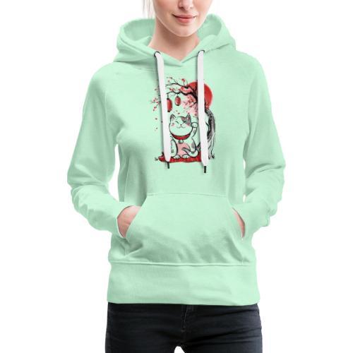 Chat bonheur - Sweat-shirt à capuche Premium pour femmes