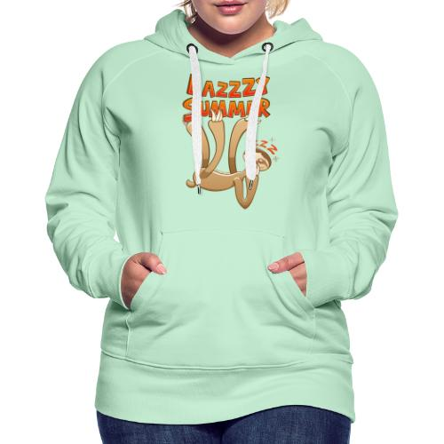 Sleepy sloth yawning and enjoying a lazy summer - Women's Premium Hoodie