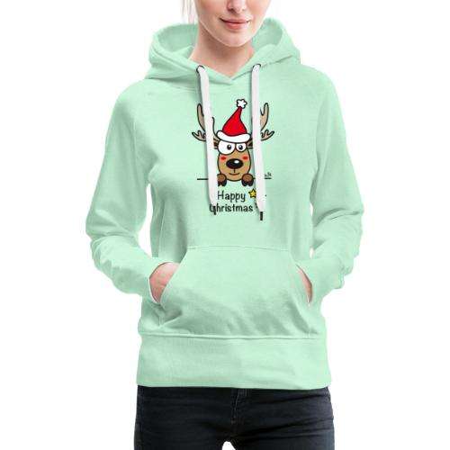 Renne Joyeux Noël - Happy Christmas, Humour, Drôle - Sweat-shirt à capuche Premium pour femmes