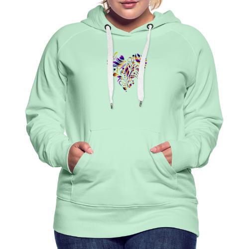 motif coeur multicolor - Sweat-shirt à capuche Premium pour femmes