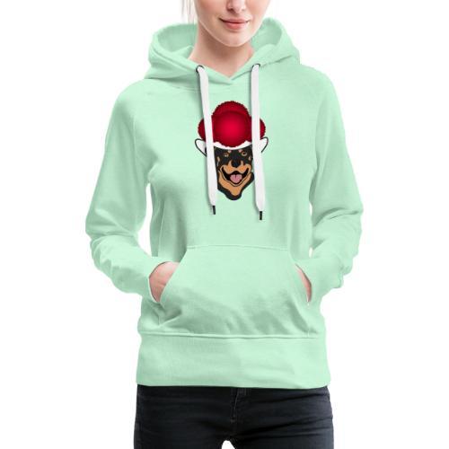Rottweiler mit rotem Bollenhut - Frauen Premium Hoodie