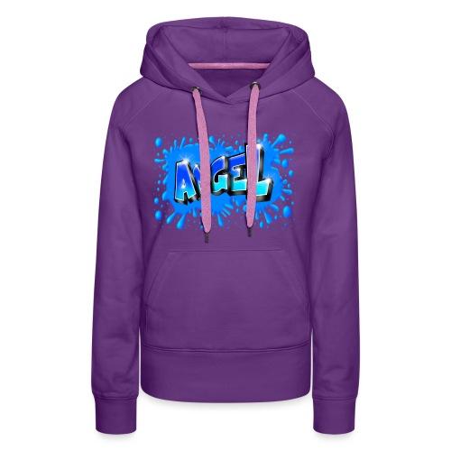 Angel graffiti name with splashs of color - Sweat-shirt à capuche Premium pour femmes