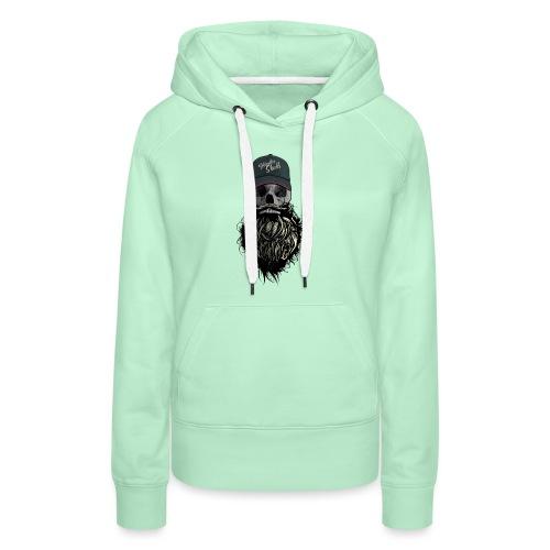 tete de mort hipster casquette logo skull barbu cr - Sweat-shirt à capuche Premium pour femmes