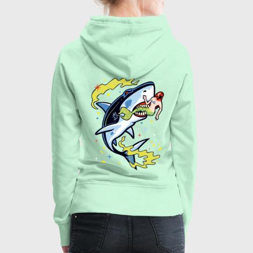 Requin mangeur de sirène - Sweat-shirt à capuche Premium pour femmes