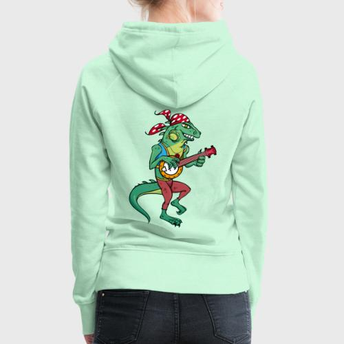 Tzigane iguane avec Banjo - Sweat-shirt à capuche Premium pour femmes