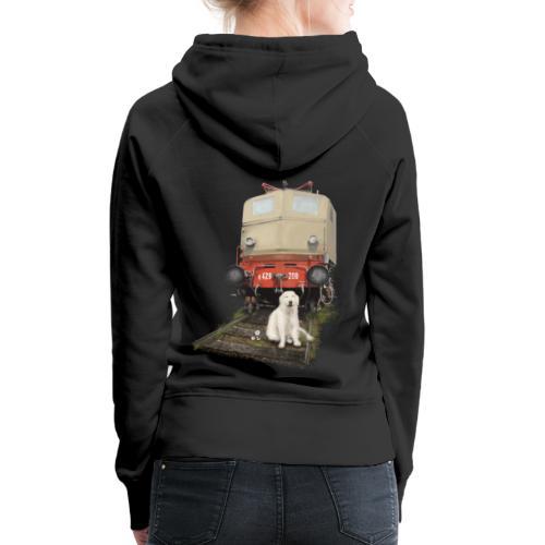 Golden Retriever with Train - Felpa con cappuccio premium da donna