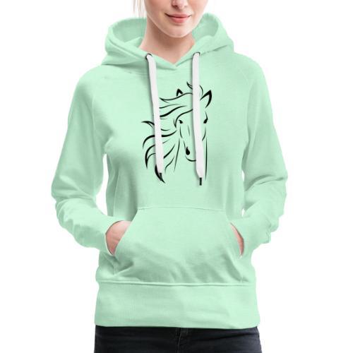 cheval - Sweat-shirt à capuche Premium pour femmes