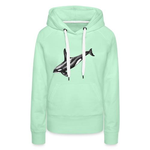 Orca ballena asesina Dibujo tinta blanco y negro - Sudadera con capucha premium para mujer