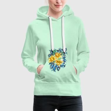 abstrakti kukkia viiva - Naisten premium-huppari