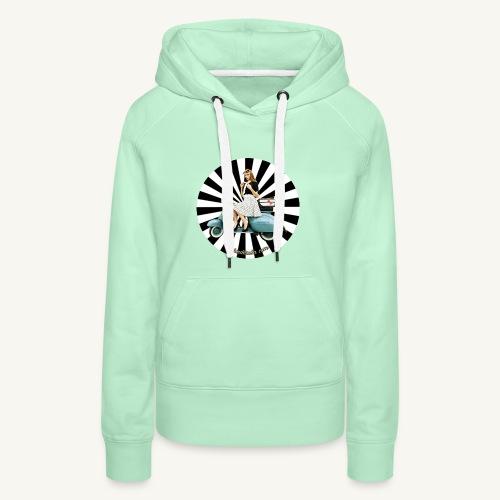 Pin Up auf Vespa Stripes - Frauen Premium Hoodie