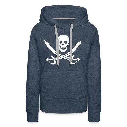 Piratenpullover Mann Weiß-Schwarz - Frauen Premium Hoodie
