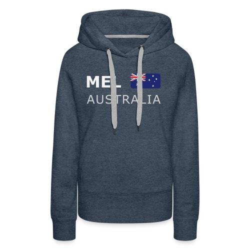 MEL AUSTRALIA white-lettered 400 dpi - Women's Premium Hoodie