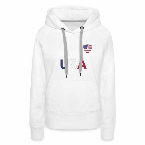 NEM USA white - Felpa con cappuccio premium da donna