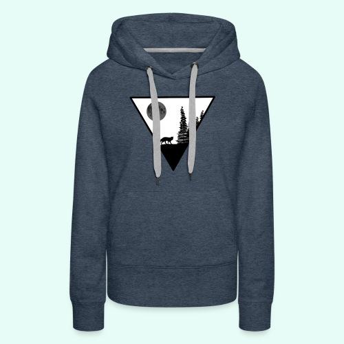 Pleine lune avec renard - Sweat-shirt à capuche Premium pour femmes