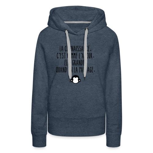 Grande citation et logo Savant Singe - Sweat-shirt à capuche Premium pour femmes