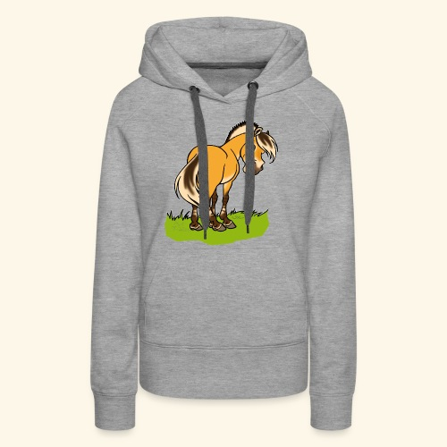 Freundliches Fjordpferd (Ohne Text) Weisse Umrisse - Sweat-shirt à capuche Premium pour femmes
