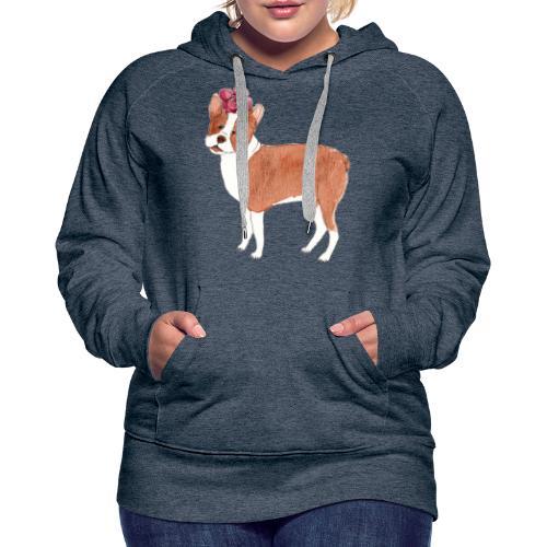 boston terrier with flower - Dame Premium hættetrøje