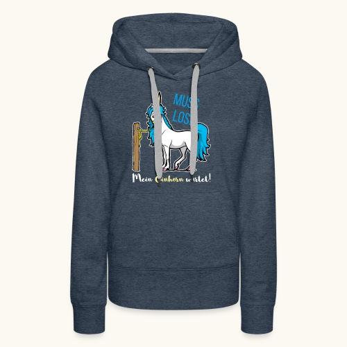 Dessin drôle de licorne disant bande dessinée cadeau - Sweat-shirt à capuche Premium pour femmes